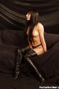 Tired Hostess In Her Hard Core Nasty Leather Panty And Boots