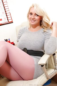 Naughty Blonde In Grey Dress And Tender Red Holdups
