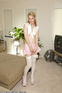 Milky Sea Poses On The Couch Having Fun With Her White Sheer Sexy Outfit