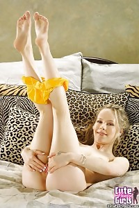 Light-haired Cheerleader In Yellow Fullback Lacy Panties