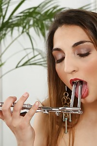 Speculum And Dildo Play For Exotic Looking Angel