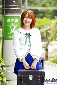 Asian Chick Akane Is Waiting To Pleasing The School Guys On Lunch Break