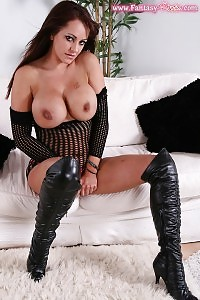 Gabriela Cares Her Luscious Body Weared In Sheer Fishnet Dress